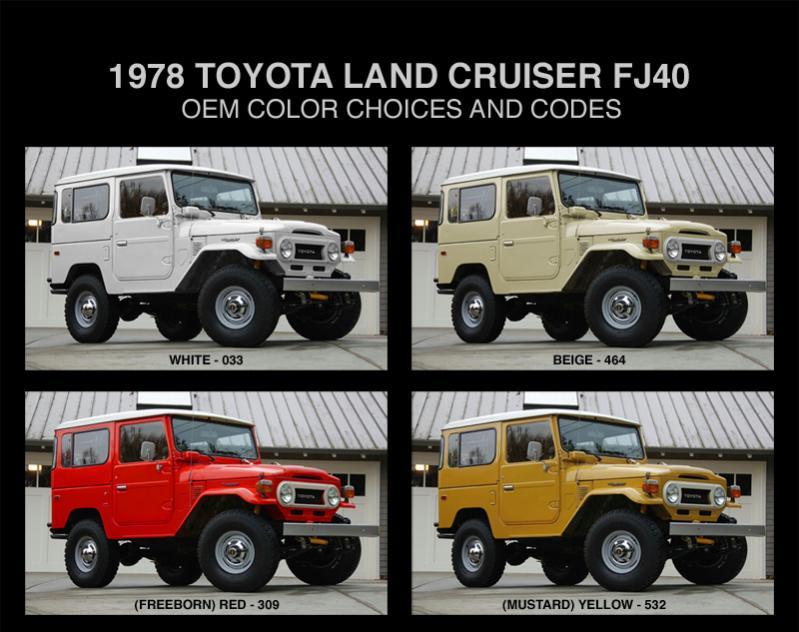 Toyota Bj 40 >> 1978 toyota land cruiser FJ40 OEM colors and codes | IH8MUD Forum