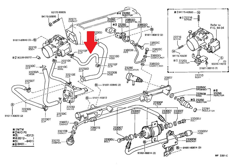 85 22re Pickup Coolant Bypass Hose Help