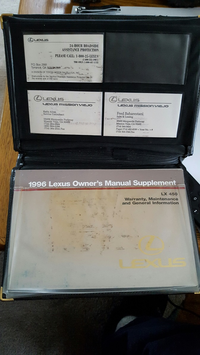 For Sale - 1996 lexus owners manual supplement with case [co