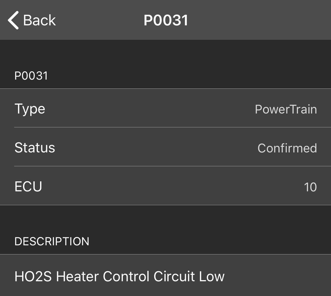 p0031 ho2s heater control circuit low bank 1 sensor 2