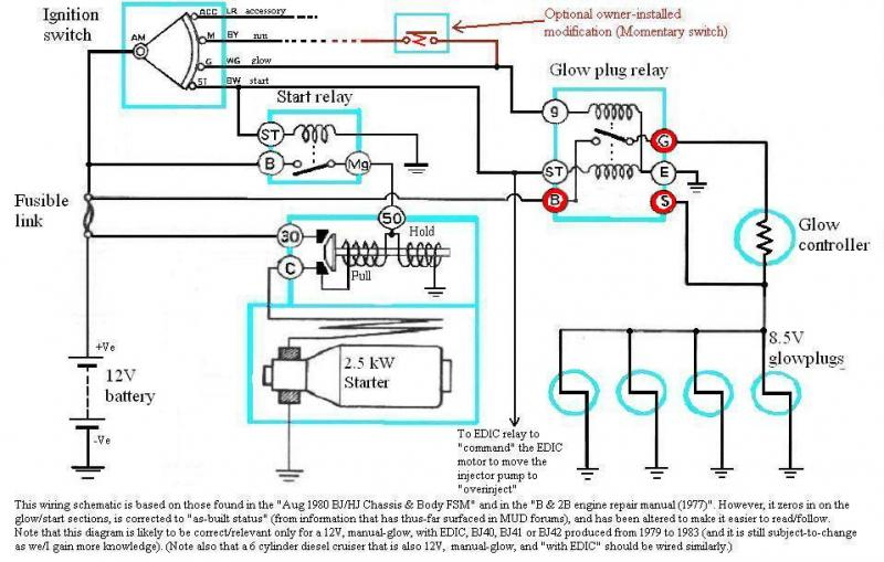 internal wiring of bj40 bj42 hj42 glow relay (manual glow toyota glow plug wiring diagram at eliteediting.co