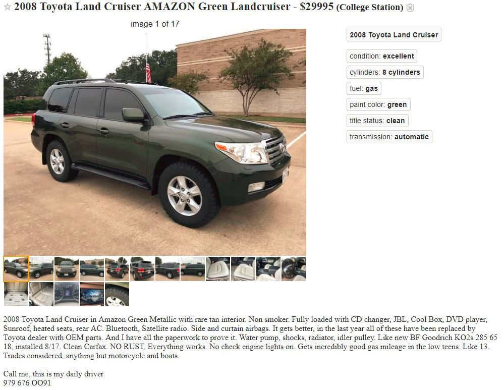 craigslist - 2008 TX AMAZON GREEN 152K $29 9K   IH8MUD Forum