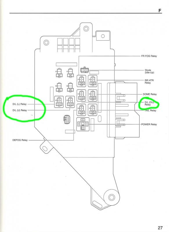location of power door lock relay