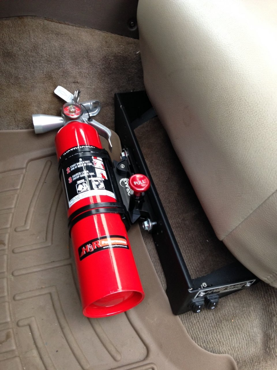 Under Seat Mounted Fire Extinguisher Mount Need Feedback