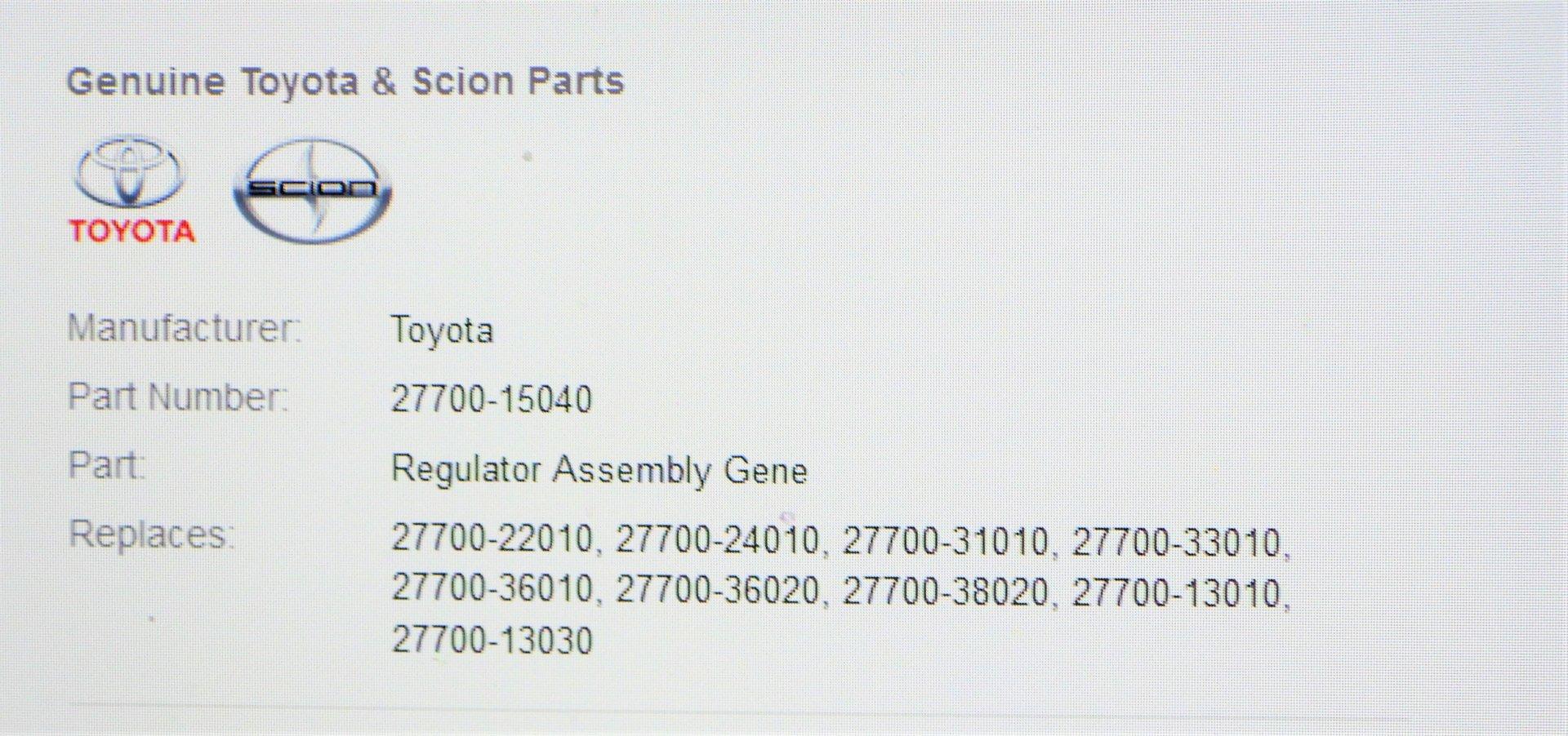 Toyota 27700-60080 Generator Regulator Assembly