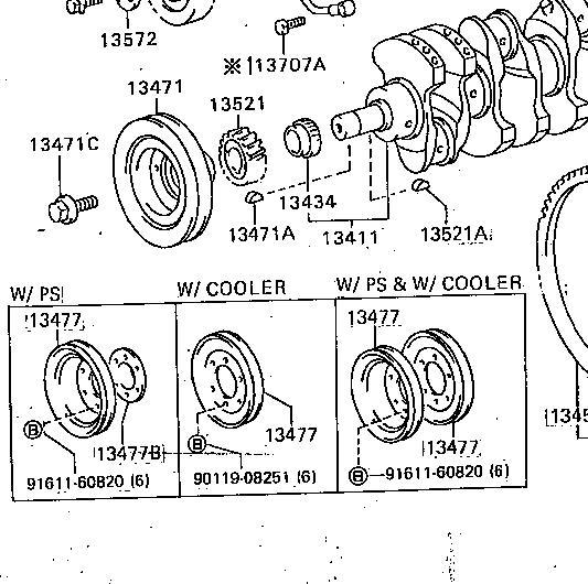 3b power steering crank pulley