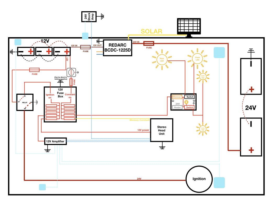 HJ61 24V upgrade with 12V system and battery bank | IH8MUD Forum  V V Battery Bank Wiring Diagram on