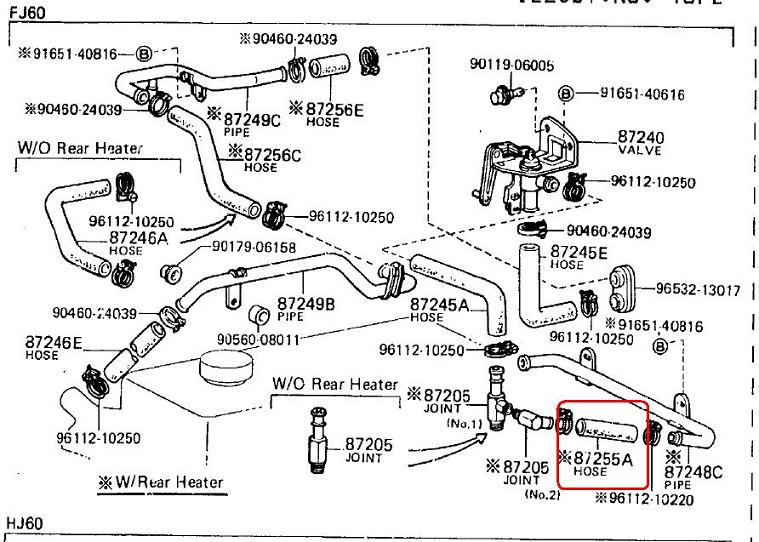 fj60 heater and coolant hose reference