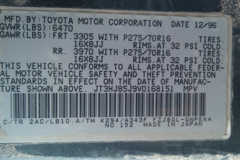 Toyota Of Lakewood >> Help from other FZJ80 owners-Certification Label info needed | IH8MUD Forum
