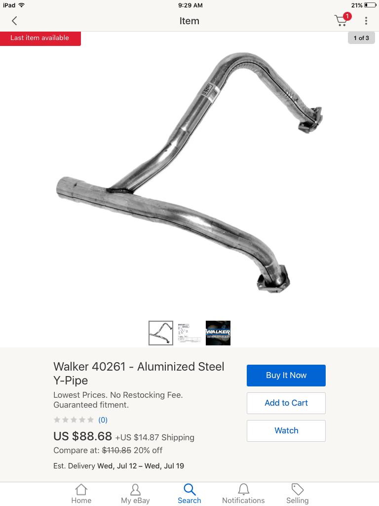 Walker 40370 Y-Pipe