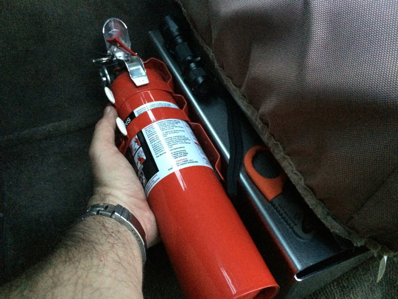 Car Fire Extinguisher Seat Mount