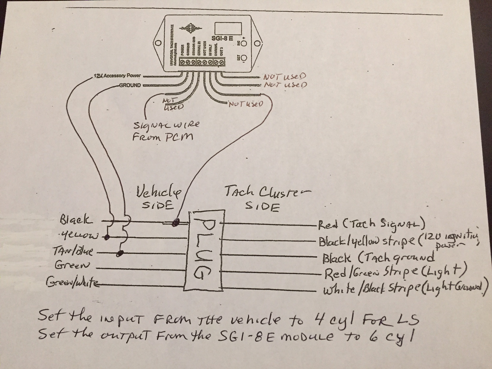 Tach Wires Ls Conversion Using The Stock Tach Diagram