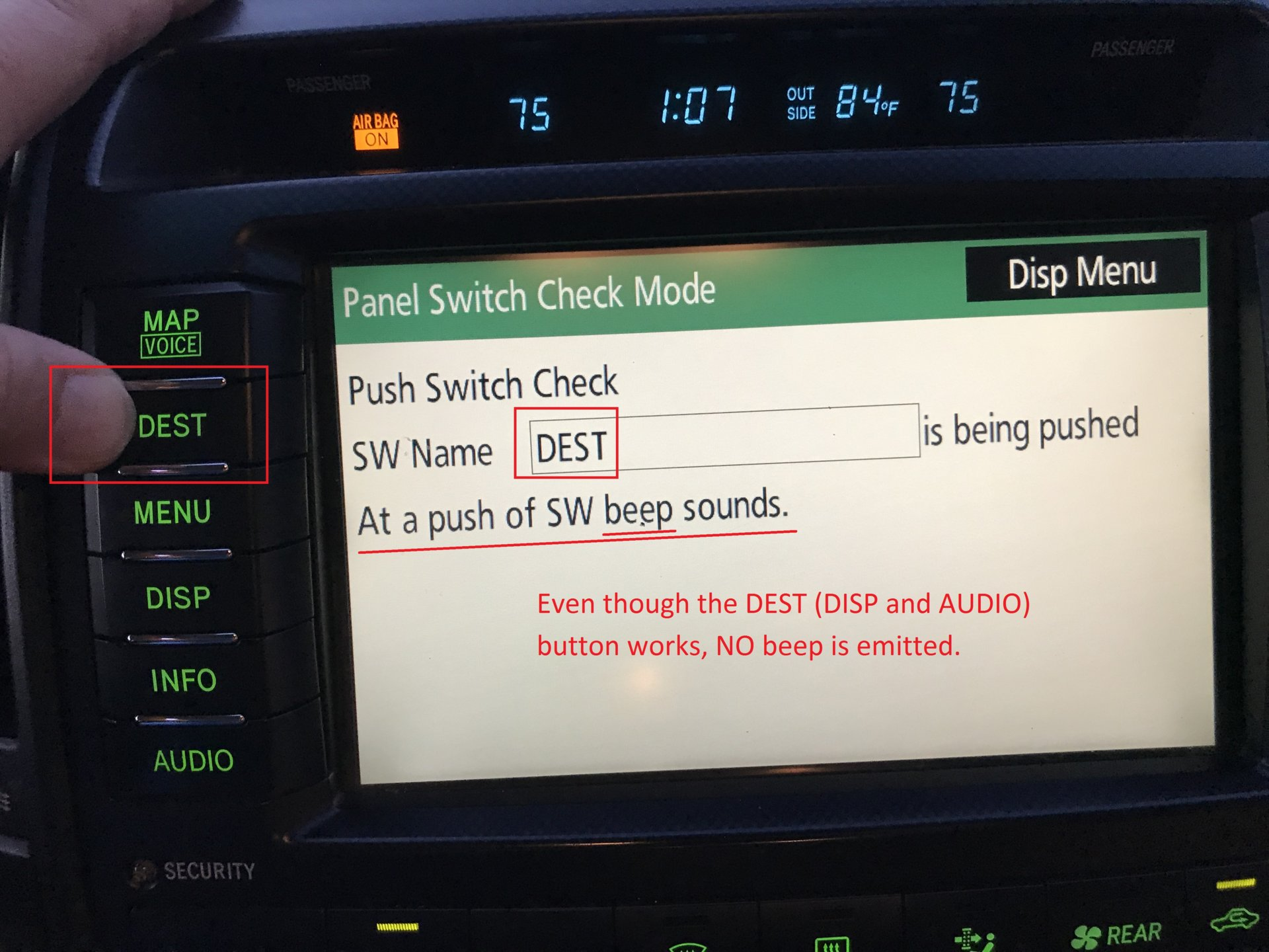 2009 LC MFD Panel Switches (MAP, MENU, INFO) not working