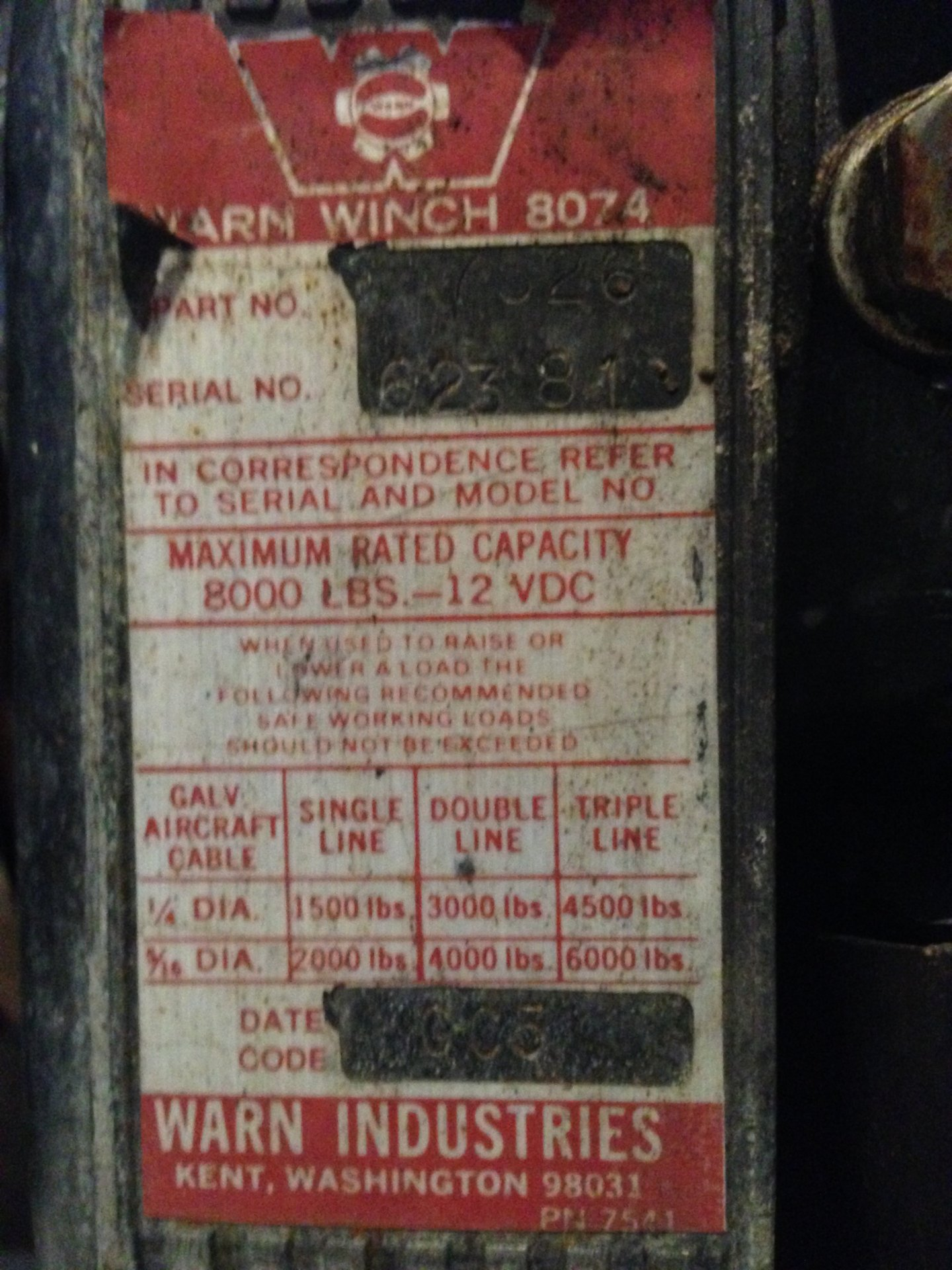 Warn Date Codes On 8074 Or 8274 Winches Ih8mud Forum