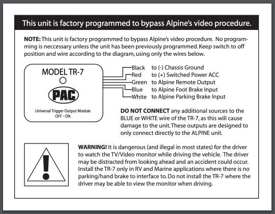 Pac Tr 7 Wiring Diagram