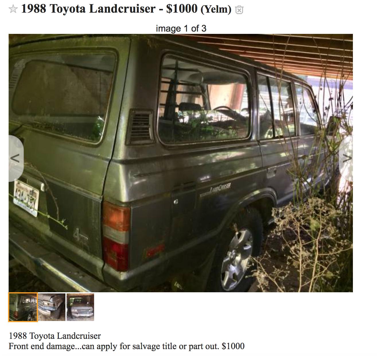 For Sale - craigslist, Olympia, WA, '88 FJ62, not mine ...