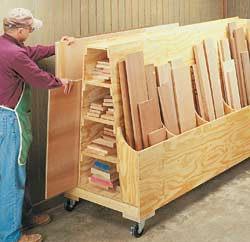 Wooden Rolling Storage Carts