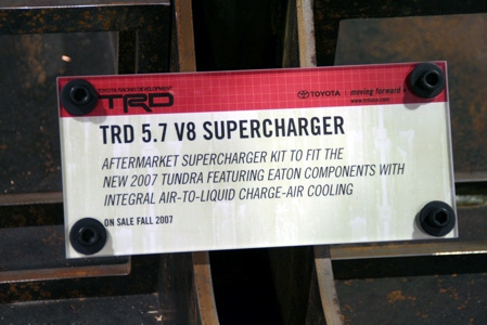 TRD Tundra 5.7L Supercharger Placard