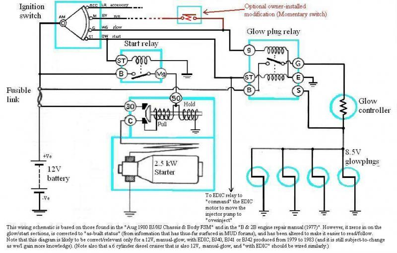 internal wiring of bj40 bj42 hj42 glow relay (manual glow relay wiring schematic at nearapp.co