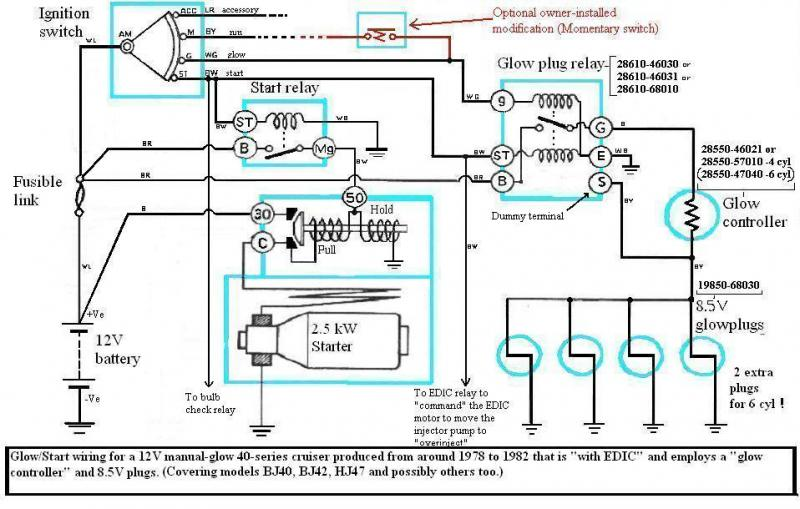 internal wiring of bj40 bj42 hj42 glow relay (manual glow) page hj75 wiring diagram at bayanpartner.co